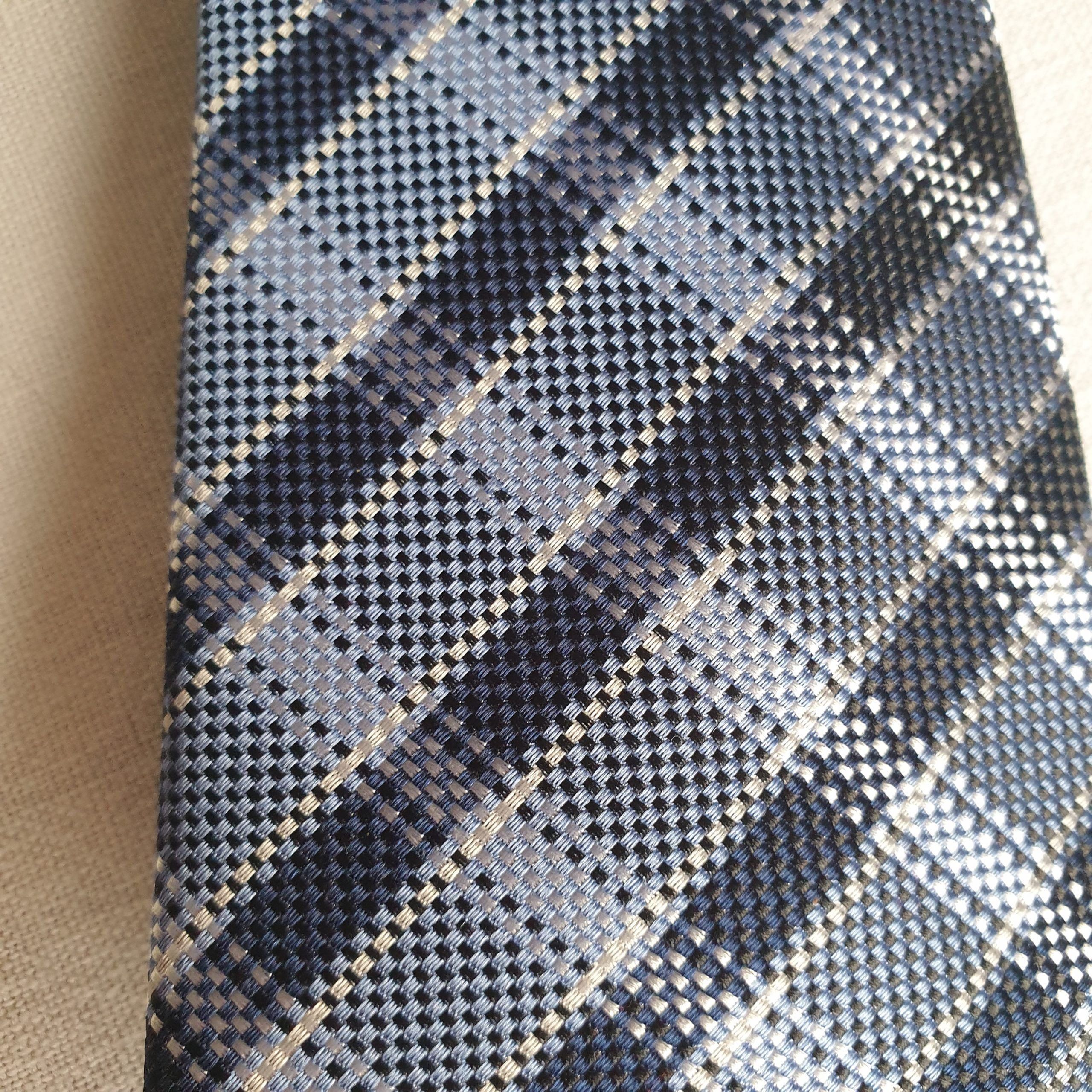 Austin Reed Silk Tie In Blue Black And White Check The Rutland Closet
